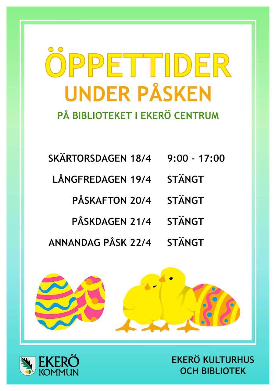 Bild på påskens öppettider på Biblioteket i Ekerö centrum