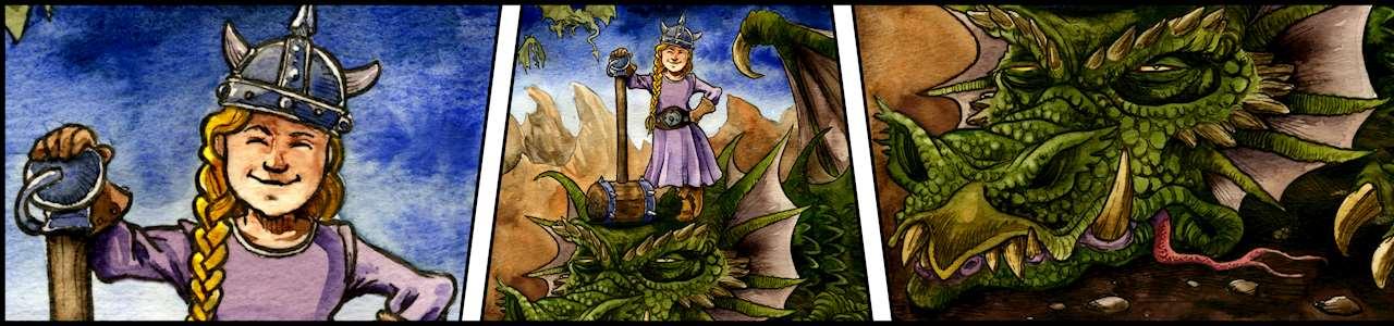 Bild på en ung riddarflicka som har dräpt en stor grön drake